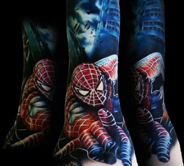 Guys Forearms Phenomenal Spiderman Tattoo