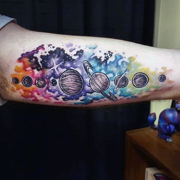 Guys Forearms Planets Astronomy Tattoo