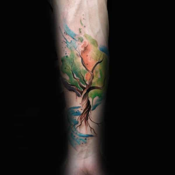 Guys Forearms Pretty Watercolor Tree