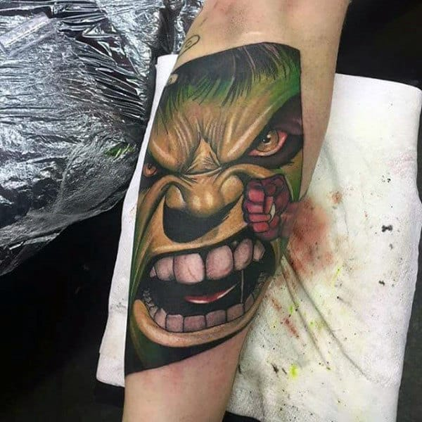 Guys Forearms Punching Hulk Tattoo