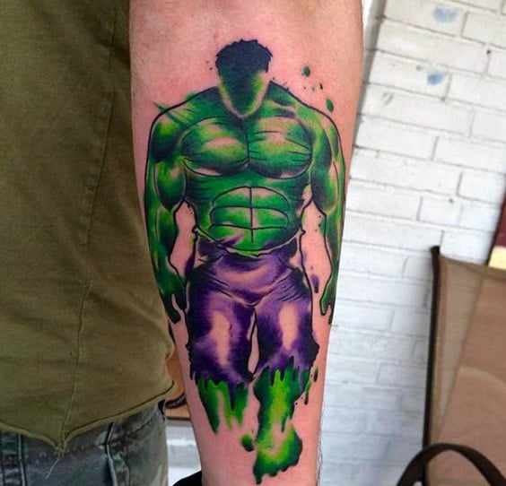 Guys Forearms Purple Green Hulk Tattoo
