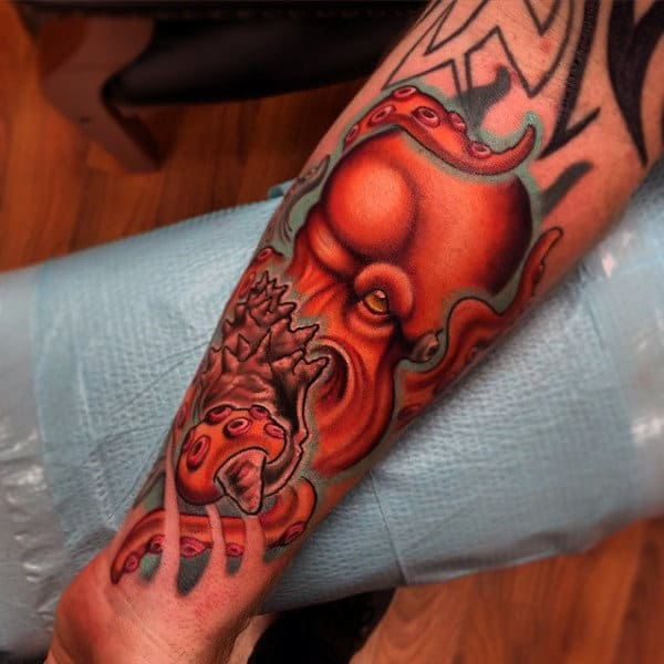 Guys Forearms Raging Orange New School Tattoo