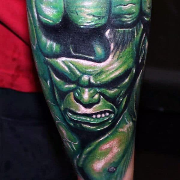 Guys Forearms Realistic Hulk Tattoo