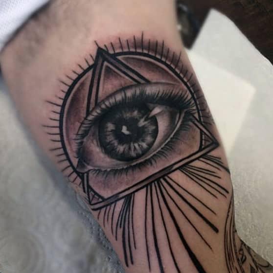 Guys Forearms Realistic Illuminati Tattoo