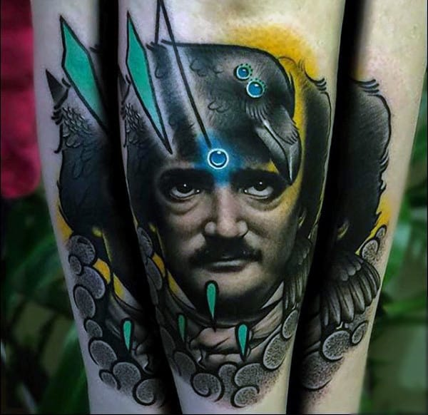 Guys Forearms Realistic Photo Image Tattoo Of Mans Face And Raven