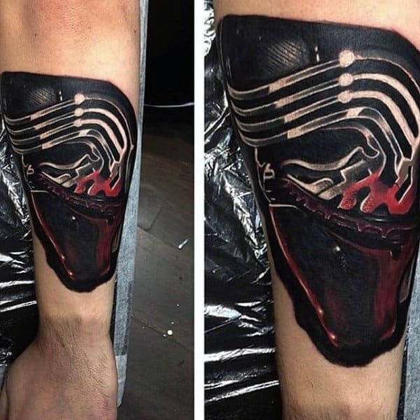 Guys Forearms Red Black Star Wars Tattoo