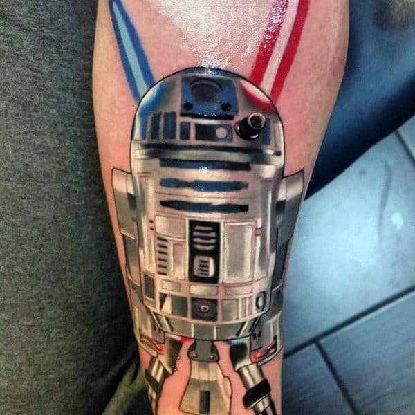 Guys Forearms Red Blue Antennae Species Star Wars Tattoo