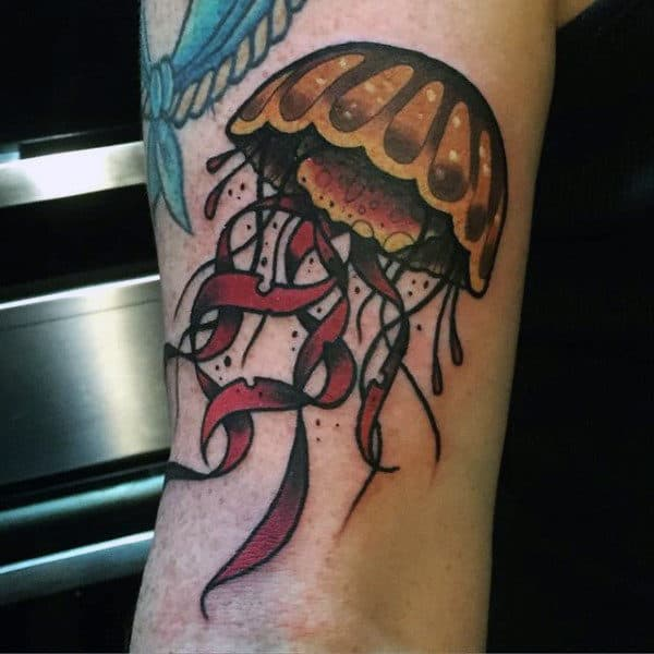 Guys Forearms Red Tentacled Jellyfish Tattoo