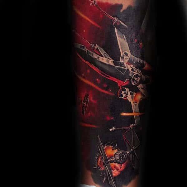Guys Forearms Reddish Star Wars Tattoo