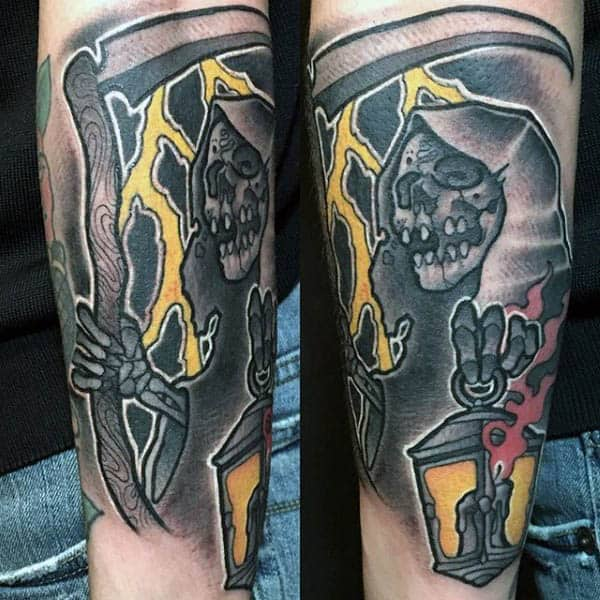 Guys Forearms Scary Ghoulish Skull Neo Traditional Tattoo