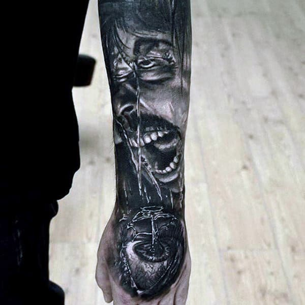 Guys Forearms Screaming Man Tattoo