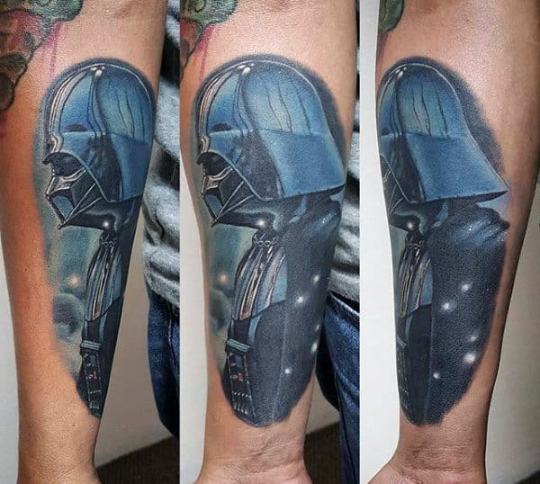 Guys Forearms Shaded Darth Vader Tattoo