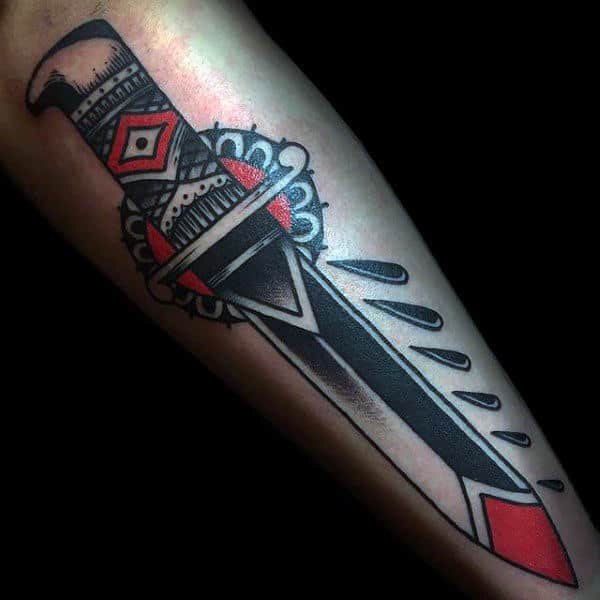 Guys Forearms Shiny Dagger Tattoo