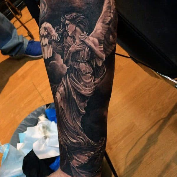 Guys Forearms Sick Angel Tattoo
