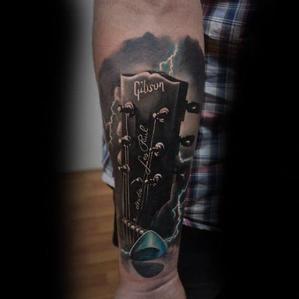 Guys Forearms Sick Musical Instrument Tattoo