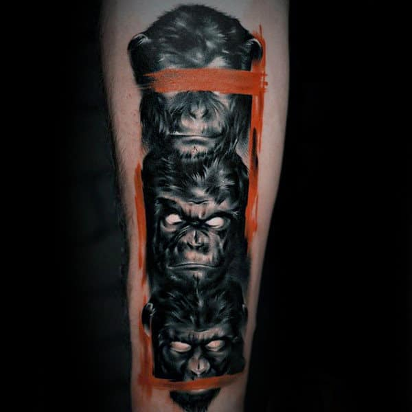 Guys Forearms Sick Tattoo Of Three Monkeys