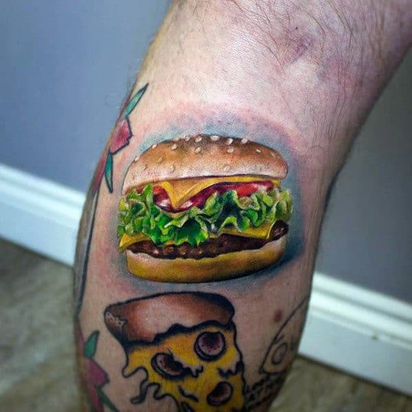 Guys Forearms Small Burger Food Tattoo