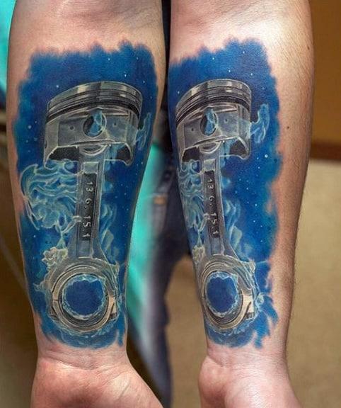 Guys Forearms Smoky Blue Background Engine Tattoo