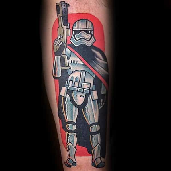 Guys Forearms Star Wars With Gun Tattoo