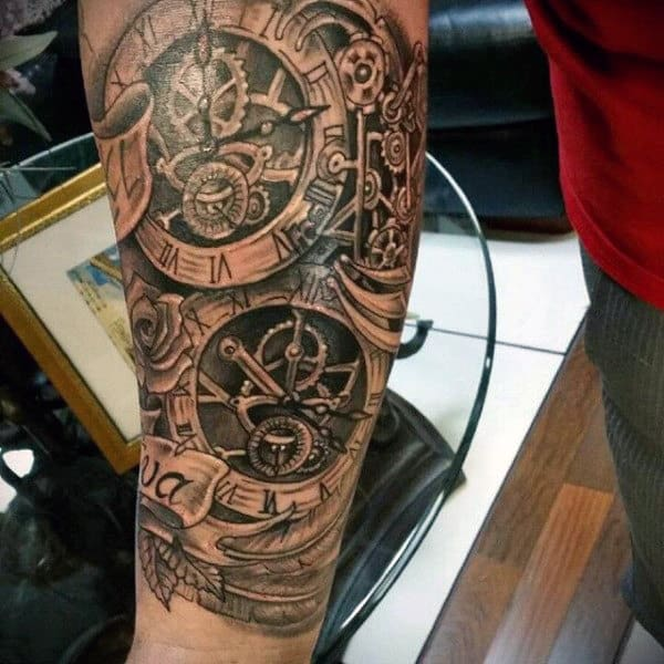 Guys Forearms Steampunk Tattoo With Clock