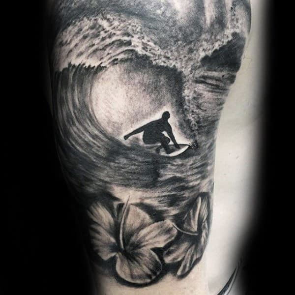Guys Forearms Surf And Flowers Tattoo