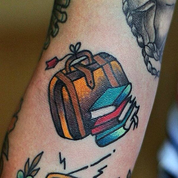Guys Forearms Travel Suitcase And Books Tattoo