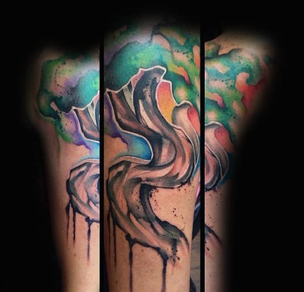 Guys Forearms Twisted Bark Watercolor Tree Tattoo