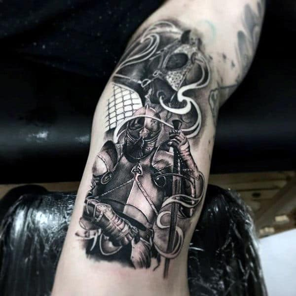 Guys Forearms Viking Black And White Tattoo