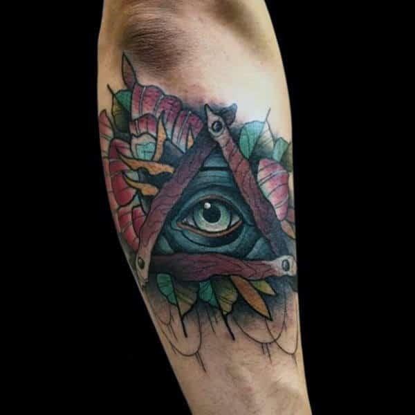 Guys Forearms Wooden Illuminati Tattoo