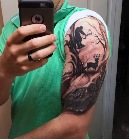 Guy's Fox Hunting Tattoo Arm