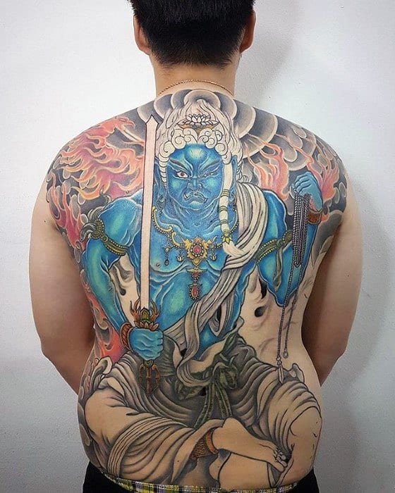 Guys Fudo Myoo Tattoo Design Ideas On Back