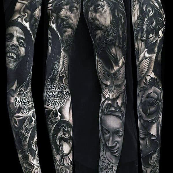 Guys Full Arm Christian Jesus Tattoo Sleeve Inspiration