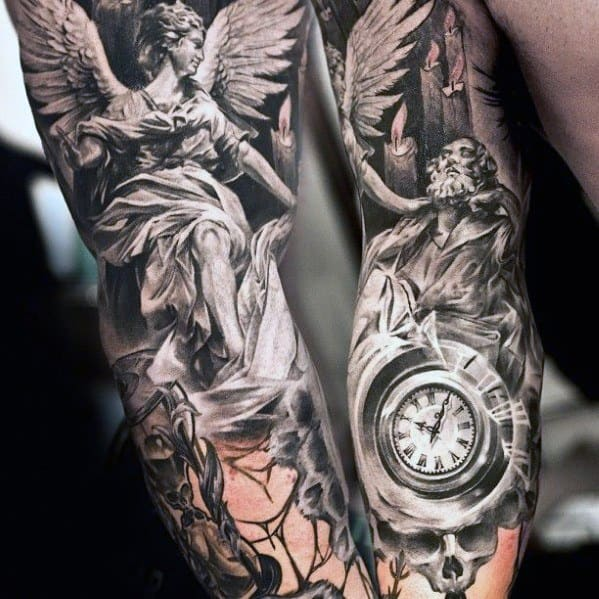 Guys Full Arm Sleeve Angel Statue Tattoos