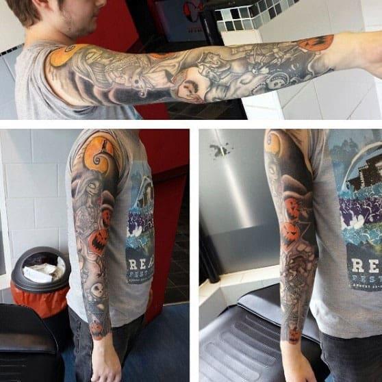 Guys Full Arm Sleeve Night Before Christmas Themed Tattoo Ideas