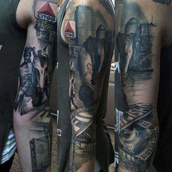 Guys Full Arm Sleeve Running Tattoo Design Realistic Ideas