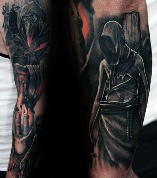 Guys Full Arm Sleeve Tattoos With Plague Doctor Design