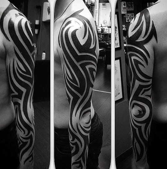 Guys Full Arm Sleeve Tribal Tattoo Designs