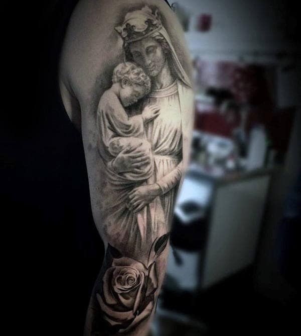 Guys Full Arm Tattoo Of Virgin Mary Holding Baby Jesus With Rose Flower