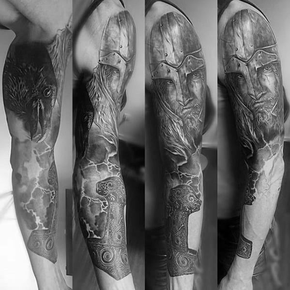 Guys Full Arm Thor Hammer With Thunderstorm Lighting Tattoo