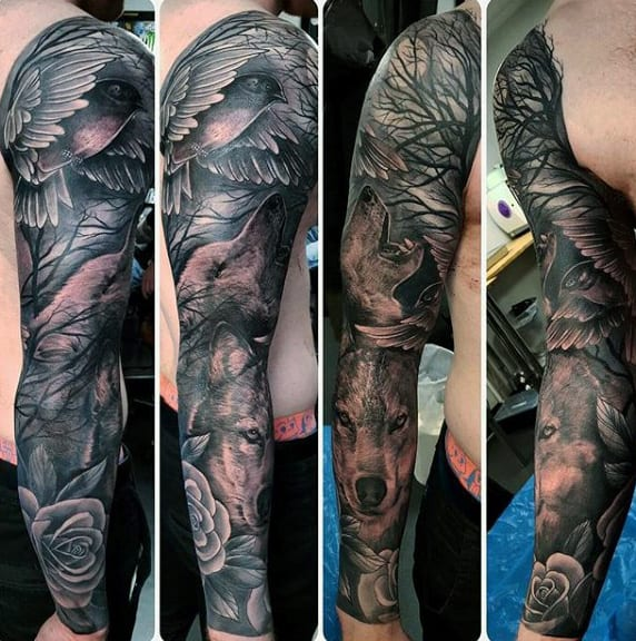 Guys Full Arm Wolves In Forest Animal Tattoo Sleeve