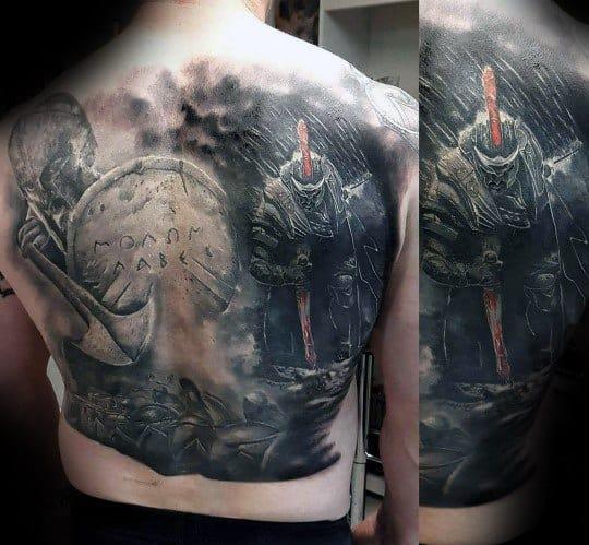 Guys Full Back 3d Hyper Realistic Shield Tattoo