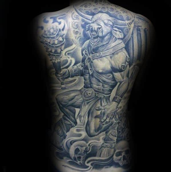 Guys Full Back 3d Minotaur Tattoos