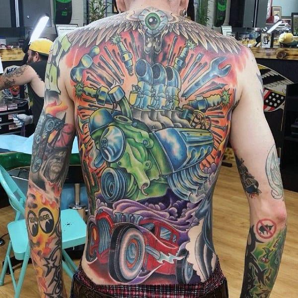 Guys Full Back Astonishing Hot Rod Tattoo