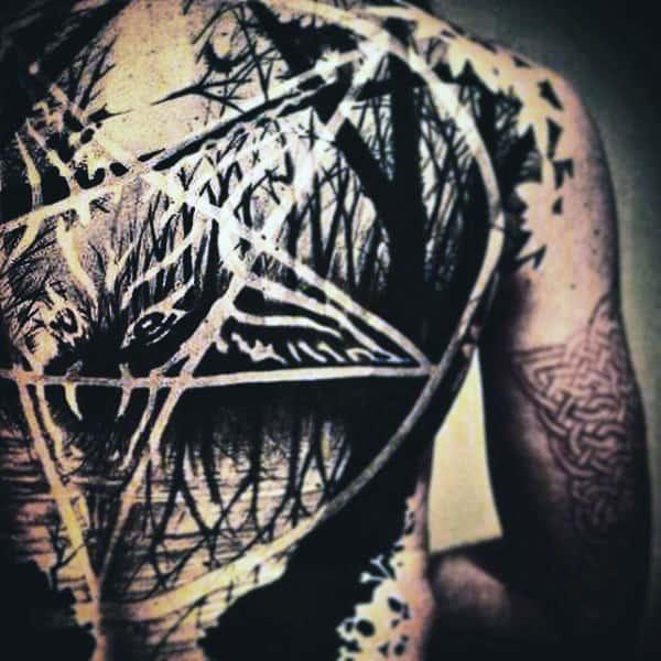 Guys Full Back Black White Lakeside And Pentagram Tattoo