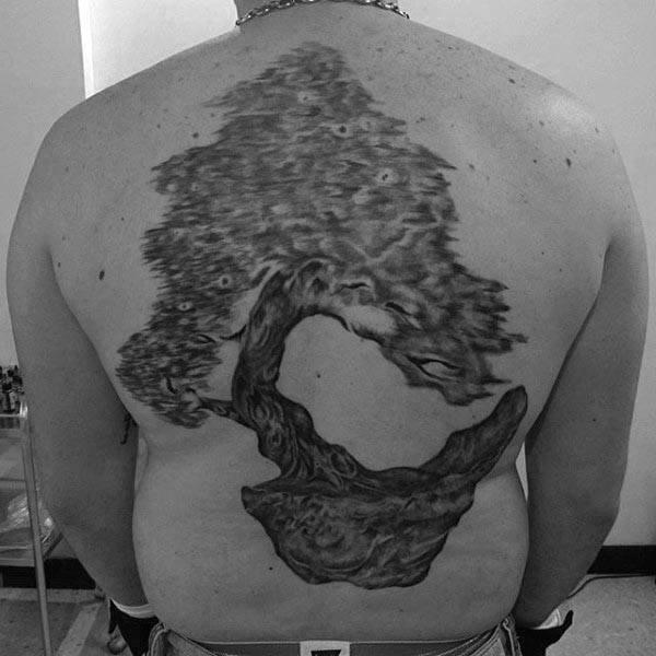 Guys Full Back Bonsai Tree Tattoo Ideas