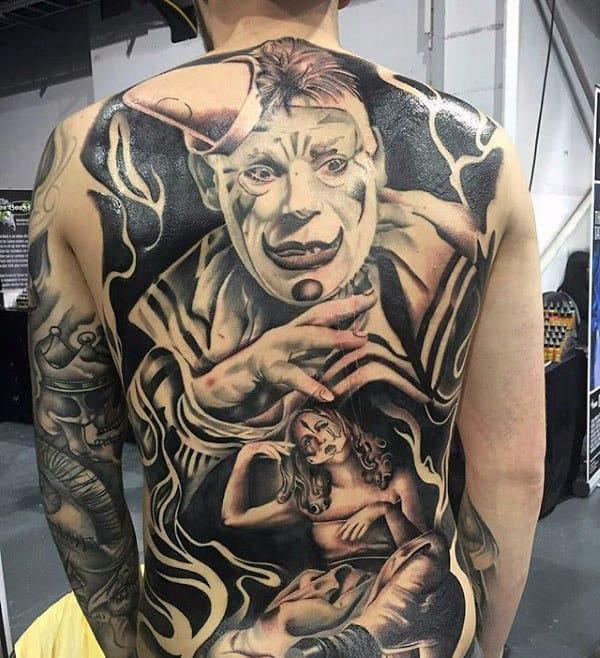 Guys Full Back Clown Themed Tattoo Designs