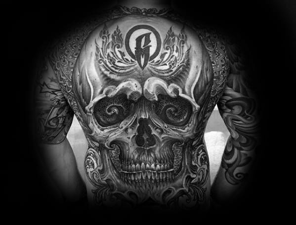 Guys Full Back Detailed 3d Skull Tattoo Inspiration