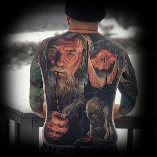 Guys Full Back Eye Of Sauron Tattoo Design Ideas