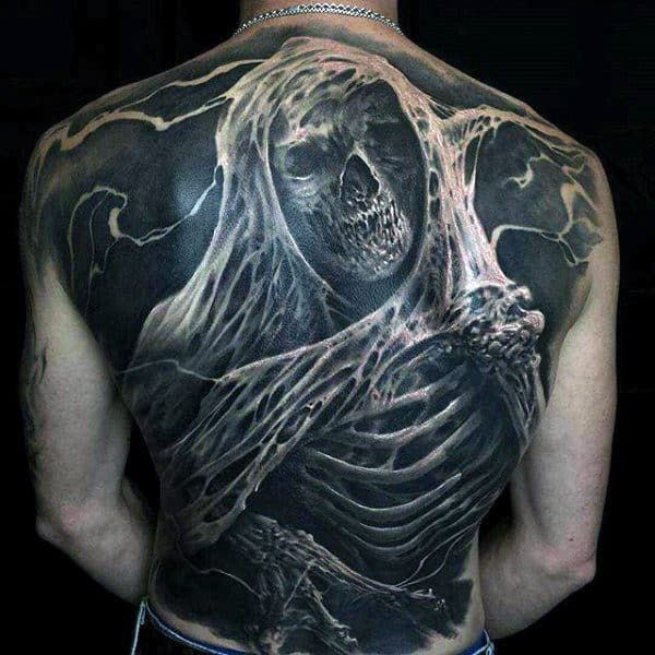 Guys Full Back Greyish Howling Ghoul Tattoo