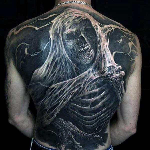 Guys Full Back Greyish Howling Ghoul Tattoo